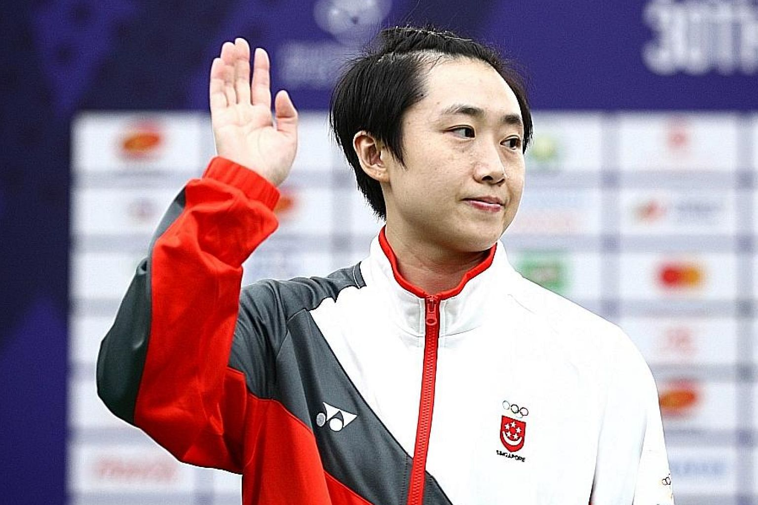 Singapore paddler Feng Tianwei during the victory ceremony at the SEA Games last year, when she won women's singles silver.