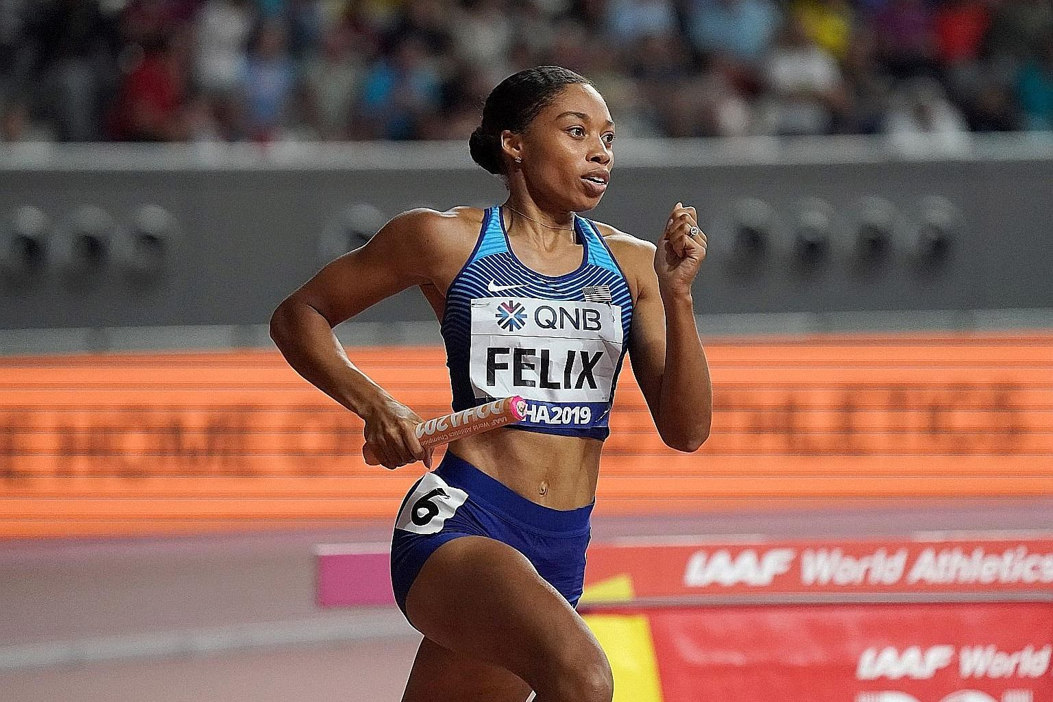 From far left: Allyson Felix runs at last year's World Championships after becoming a mother. Kerri Strug with a heavily bandaged ankle on the podium at the 1996 Olympics. Height was an obstacle 1.6m-tall Tyrone Bogues worked around during his NBA ca