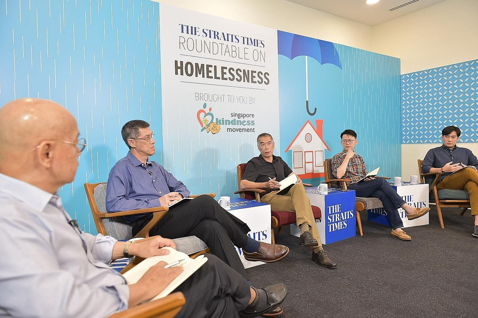(From left) Dr William Wan, general secretary of the Singapore Kindness Movement, moderating the discussion by the panel, which included Mr Lee Kim Hua, a senior director from the Ministry of Social and Family Development; Pastor Andrew Khoo from New