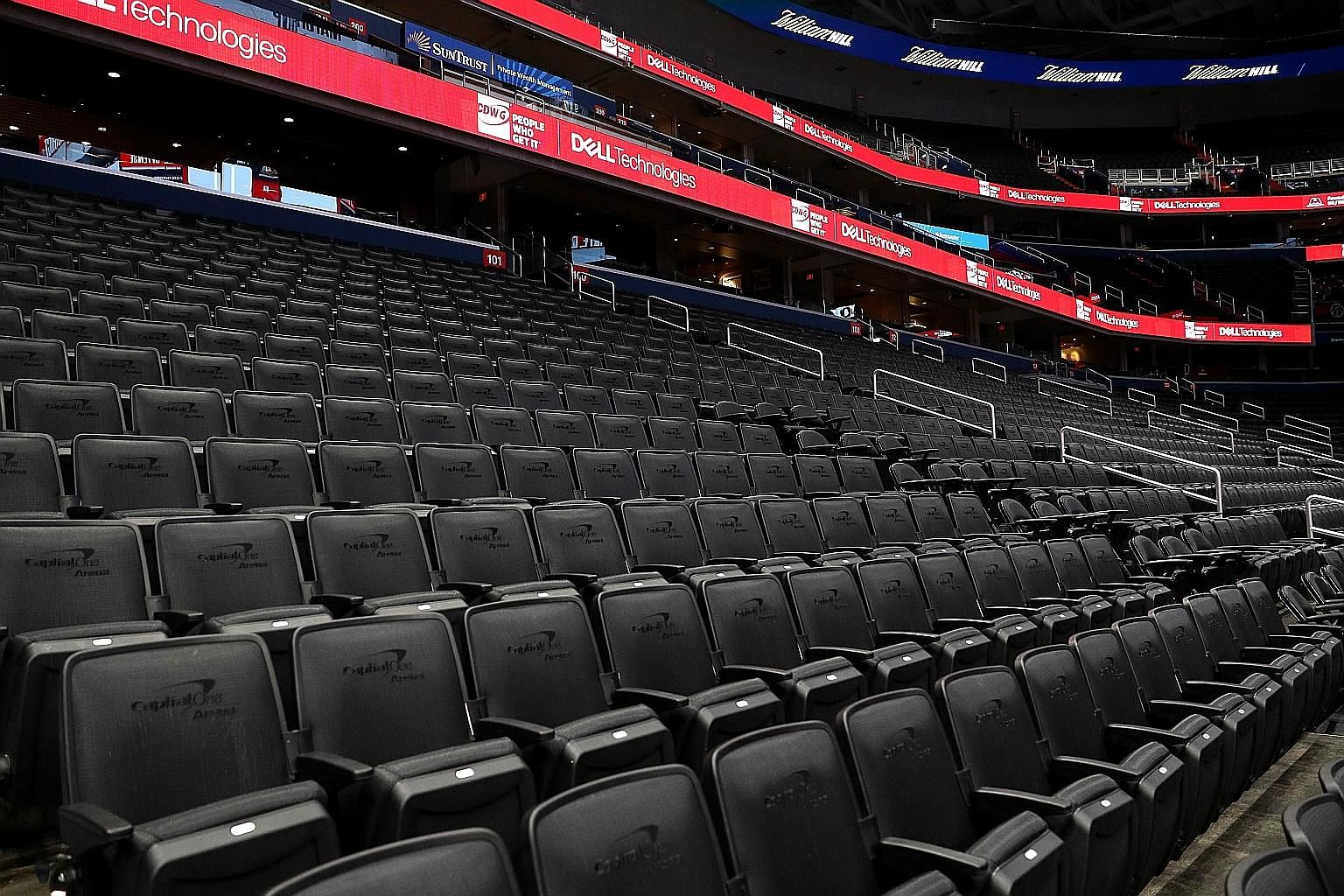 Empty seats at the Capital One Arena, home of the Washington Wizards. The NBA is bracing itself to play games at empty stadiums to resume the league while the coronavirus pandemic persists.