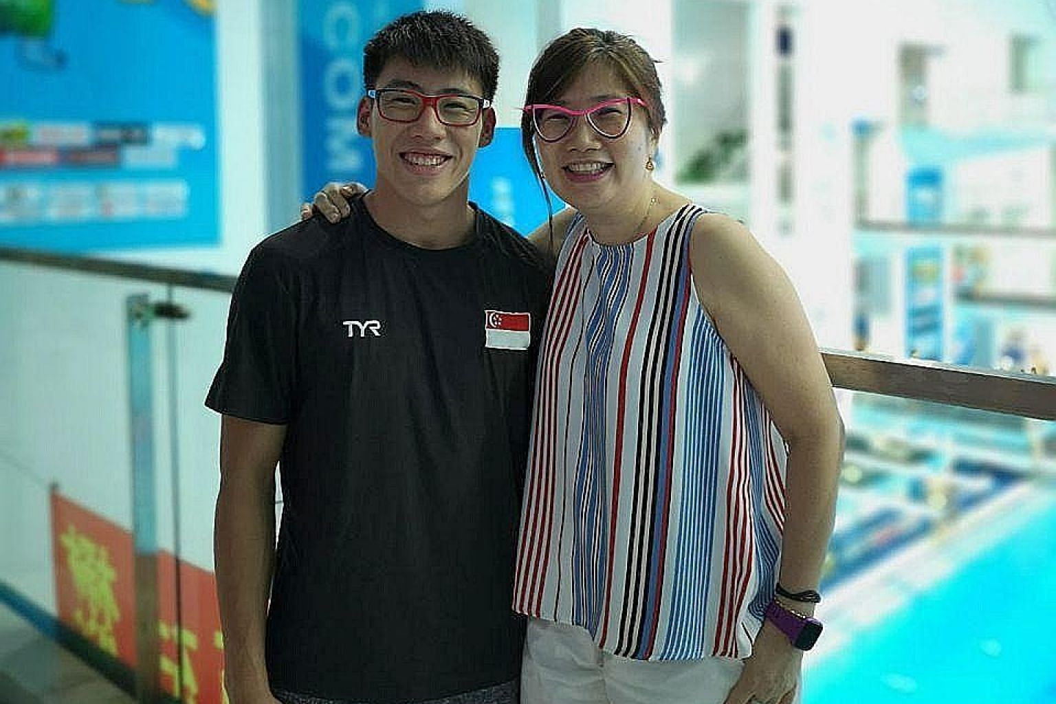 National diver Jonathan Chan and his mother, Nuen. Chan is the first Singaporean diver to qualify for the Olympics and was scheduled to compete at the Tokyo Games before they were postponed.