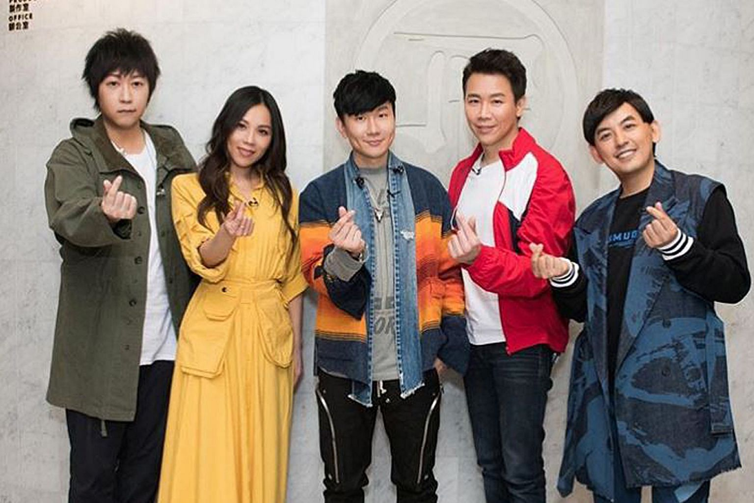 JJ Lin (centre) and his friends in entertainment - (from left) singers Ashin, Tanya Chua and David Tao and host Mickey Huang - appeared on Lin's online fan meeting.