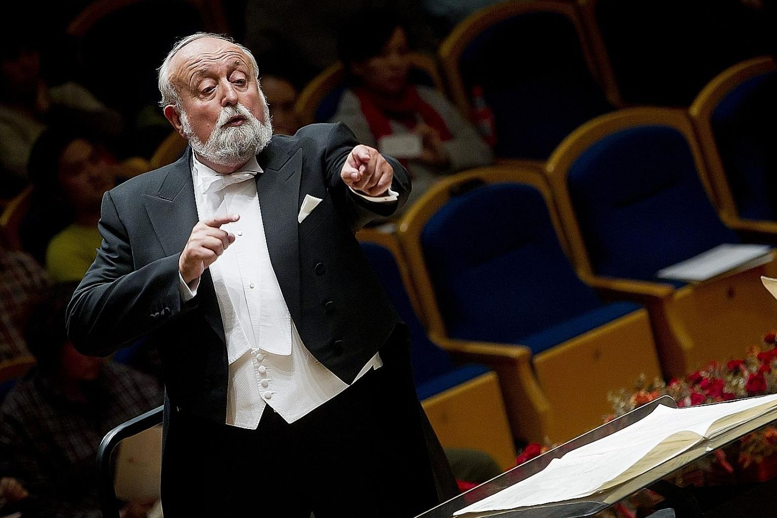 Polish composer Krzysztof Penderecki conducting China's National Symphonic Orchestra in Beijing in 2011.