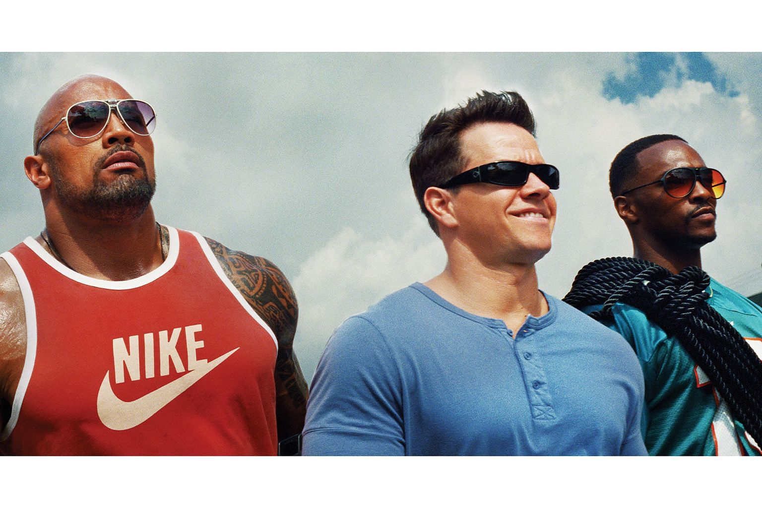 Pain & Gain stars (from far left) Dwayne Johnson, Mark Wahlberg and Anthony Mackie.Monty Python And The Holy Grail (far left) pokes fun at mediaeval England, while superhero comedy Mystery Men (left) is elevated by great acting.