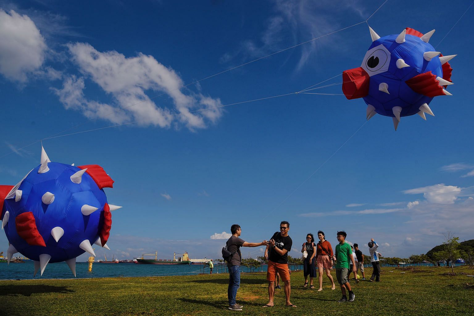 Giant kites designed to look like pufferfish at Marina Barrage on March 15. Most of South-east Asia, including Singapore, experienced dry and warm conditions last month. Singapore recorded daily maximum temperatures that exceeded 34 deg C for 27 days