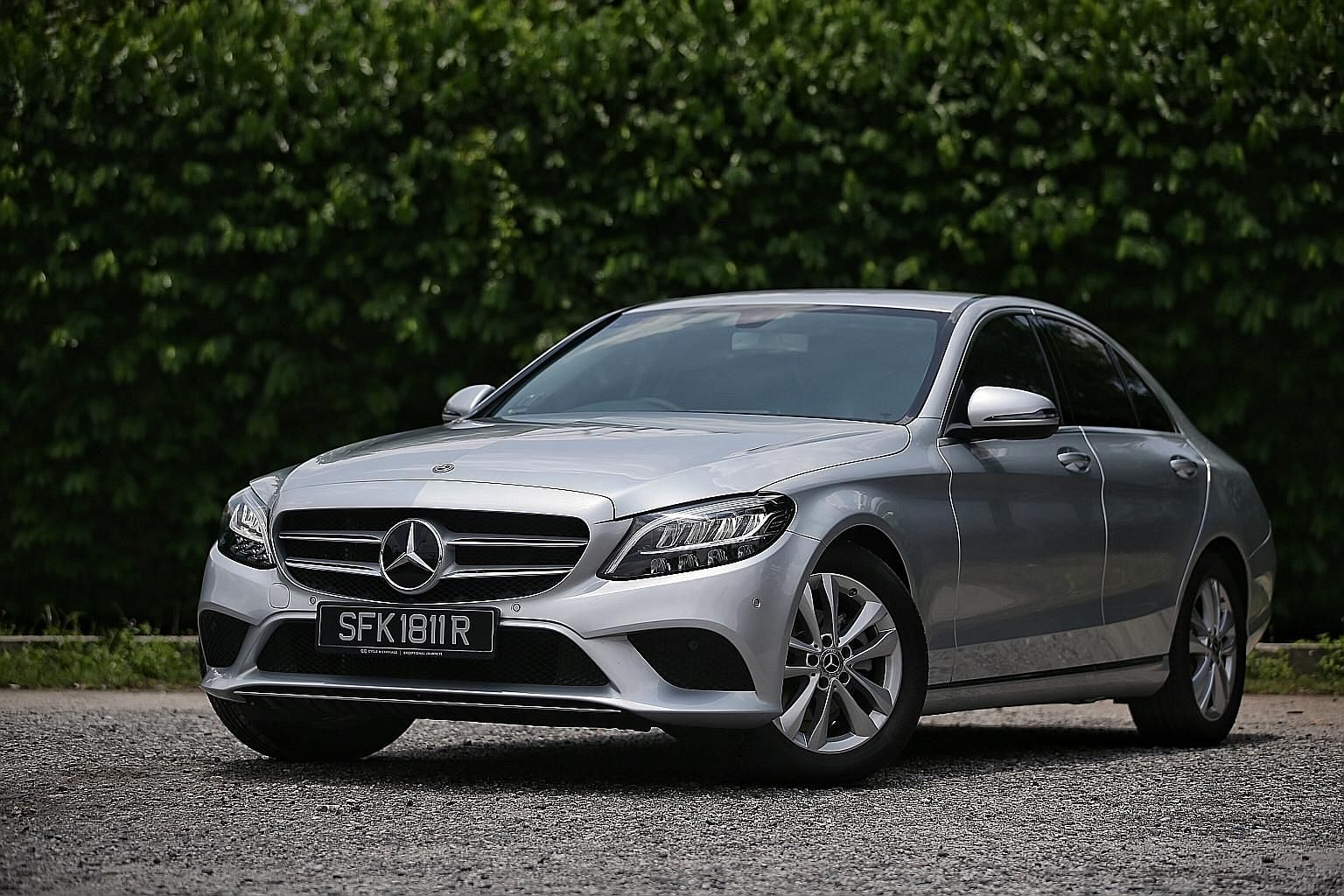 The Mercedes-Benz C160 has a fully digital instrument display, an infotainment tablet with Apple CarPlay and Android Auto as well as a reverse camera, a 64-colour ambient lighting system, a motorised boot lid with lock function and Active Parking Ass