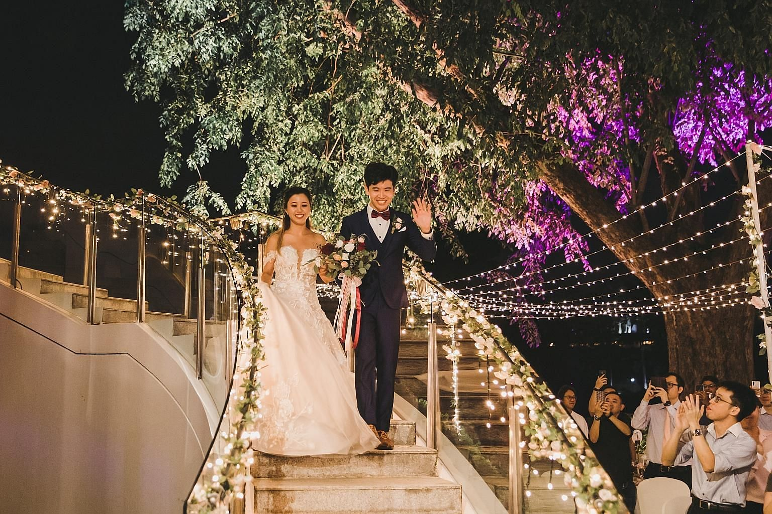 Ms Jessica Lai and Mr Phua Jun Wen at their wedding reception at the Arbora restaurant on Mount Faber in July last year. The couple met through dating app Paktor, which uses AI to pick up on users' preferences. The app likely caught on early that Ms