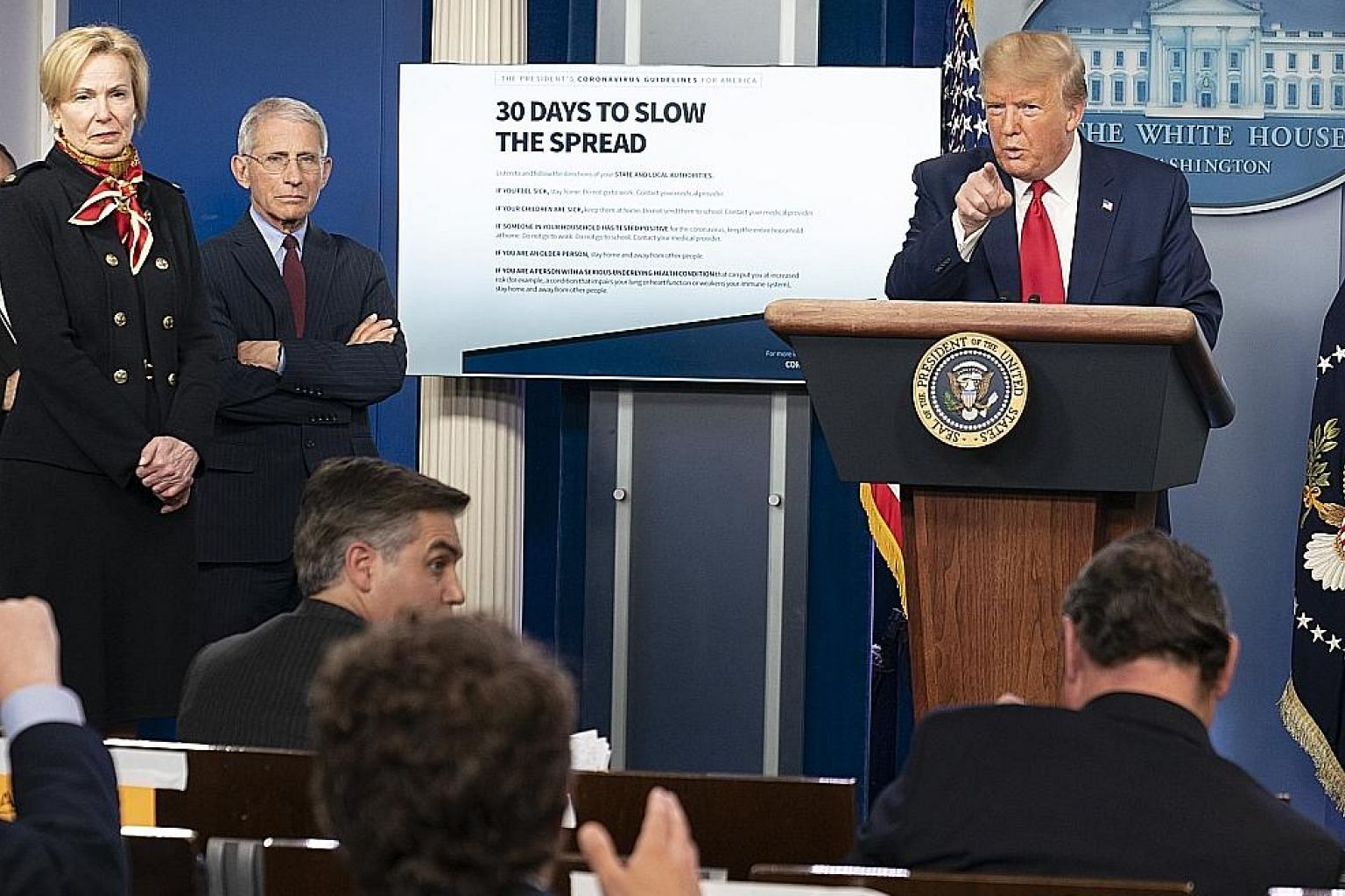 US President Donald Trump at a coronavirus task force news conference at the White House in Washington on Tuesday. Science scepticism has turned the US into fertile ground for the rapid spread of Covid-19, says the writer.
