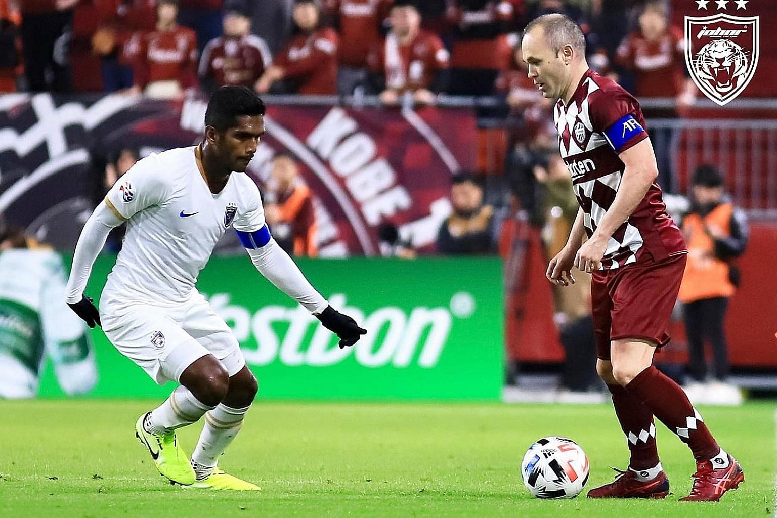 Singapore and JDT skipper Hariss Harun marking his Vissel Kobe counterpart Andres Iniesta, the former Spain and Barcelona star, in their Asian Champions League opening game in February. He knows his Malaysian side are top paymasters and hence can con