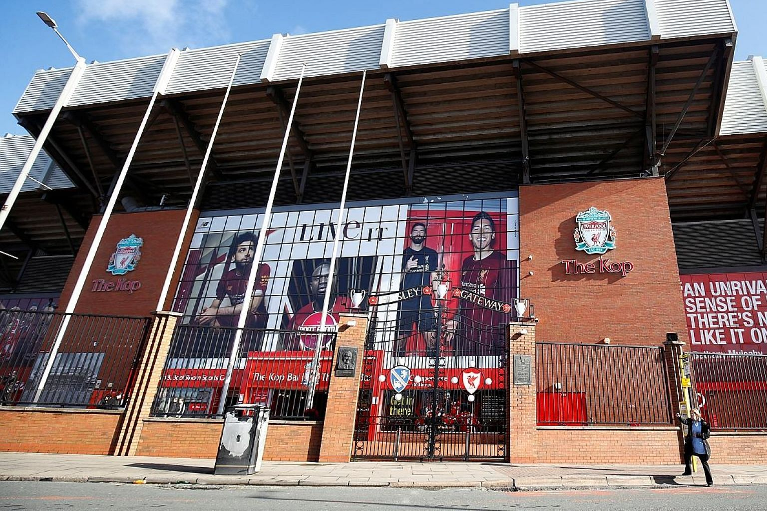 The Paisley Gateway in front of The Kop at Anfield. Liverpool say they will find other ways to operate during the hiatus without applying for government assistance. PHOTO: REUTERS