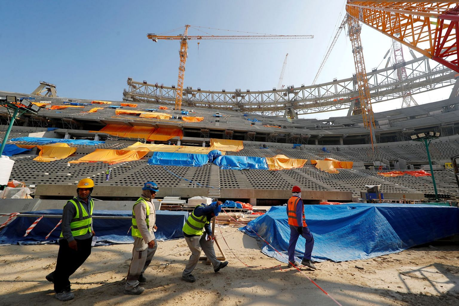 Qatar has spent huge amounts of money on the construction of facilities like this stadium in Lusail for the 2022 World Cup. PHOTO: REUTERS