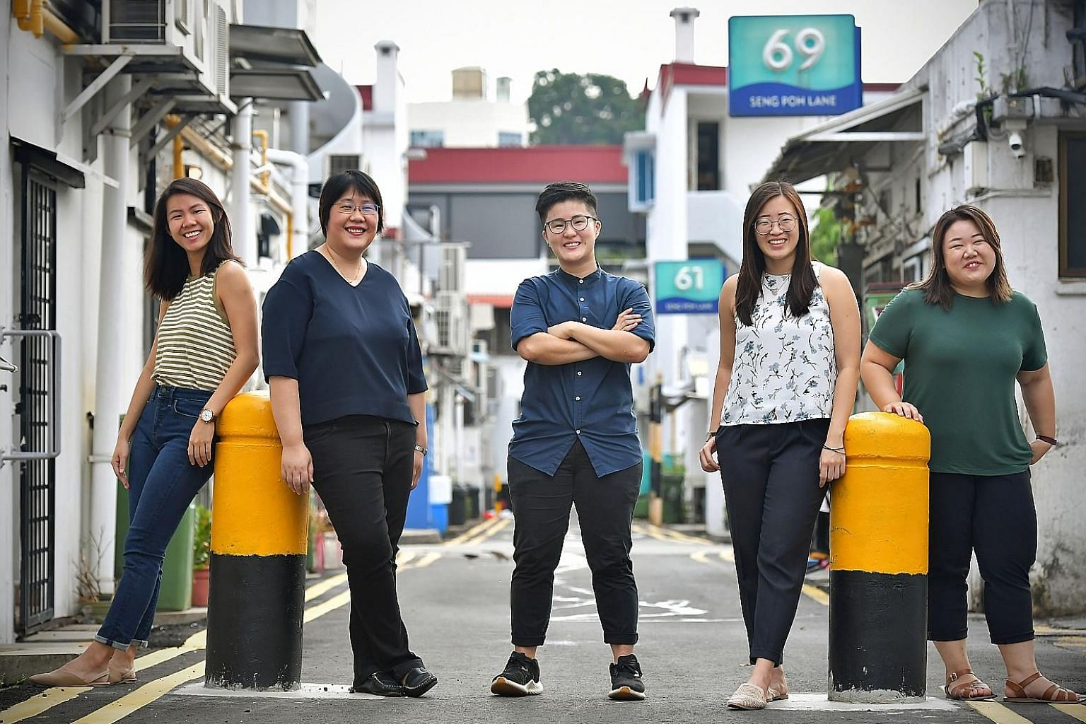 The writers behind the Generation Grit series, (from left) Cara Wong, Theresa Tan, Vanessa Liu, Goh Yan Han and Tan Tam Mei, in a photo taken last month before strict social distancing measures kicked in. Their stories feature a total of 21 millennia