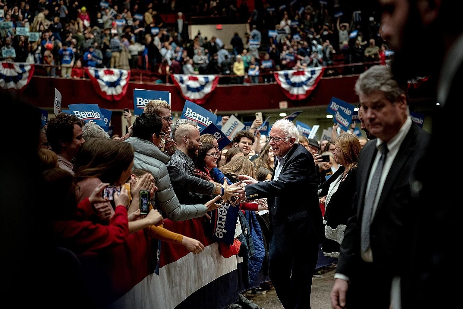 Senator Bernie Sanders greeting supporters at a campaign rally in St Paul, Minnesota, last month. He suspended his presidential campaign this week. PHOTO: NYTIMES