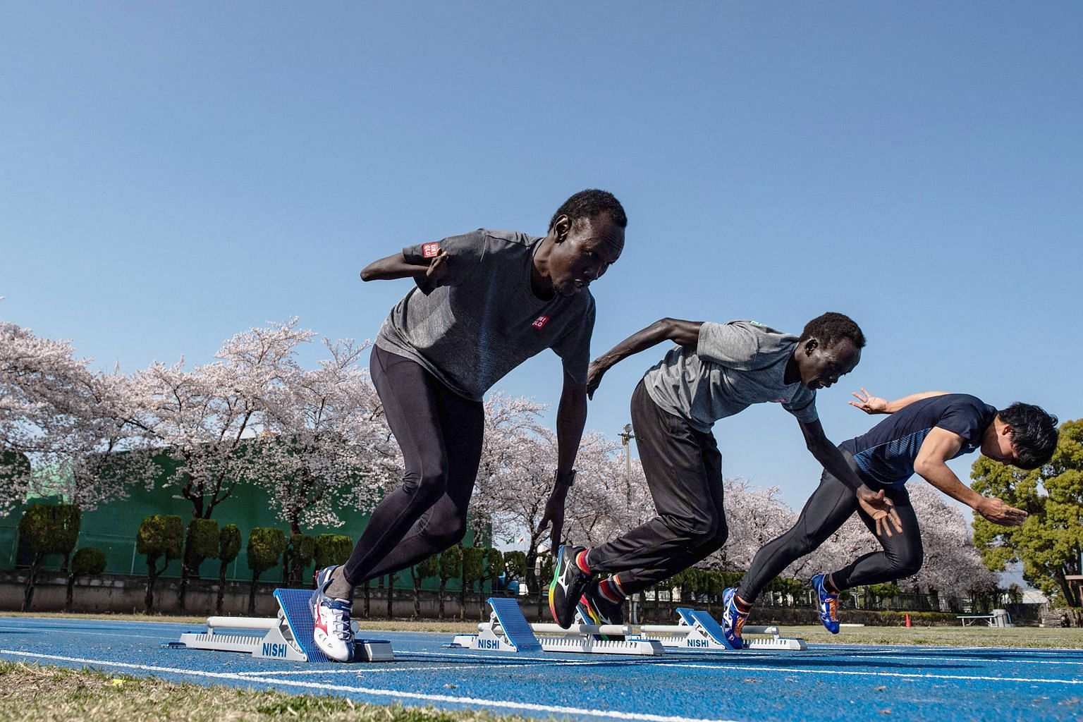 South Sudan para athlete Michael Machiek Ting Kutjang (far left) training in Maebashi, north of Tokyo, for the 2020 Paralympics, which have been postponed to next year. He is among a small team hosted by the city since November as part of its efforts