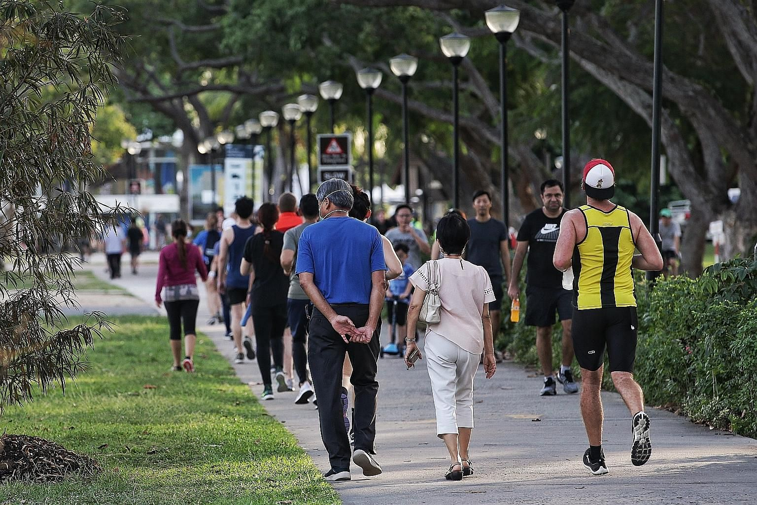 The April 7 to May 4 circuit breaker was launched in Singapore to stem the spread of Covid-19. People have to stay home unless they need to go out for essential activities, like buying food and exercising outdoors, as seen in this picture taken at Ea