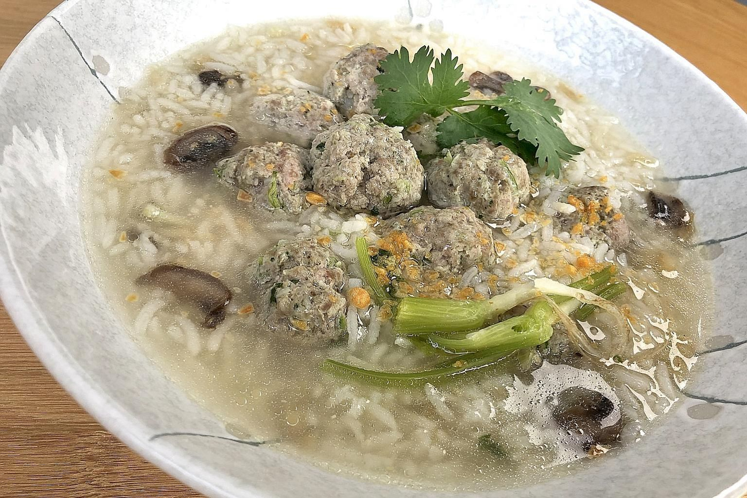 Thai rice porridge made with leftover rice and stock prepared using scraps such as coriander roots and garlic skins.