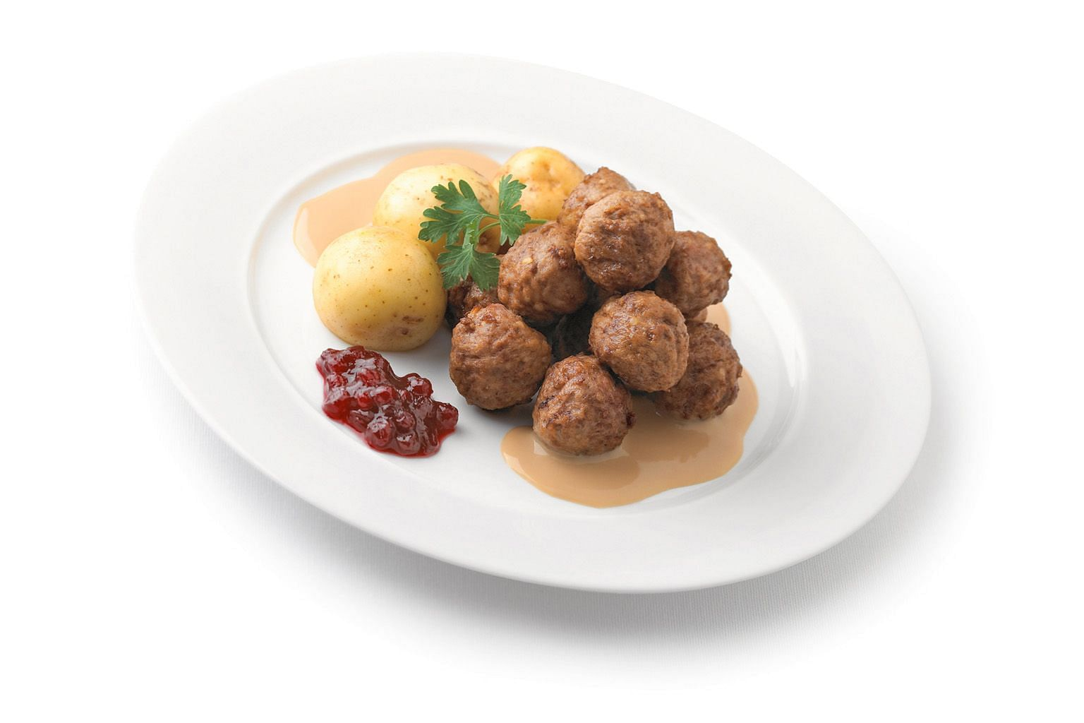 Ikea's signature meatballs are made of ground beef and pork and served in cream sauce.