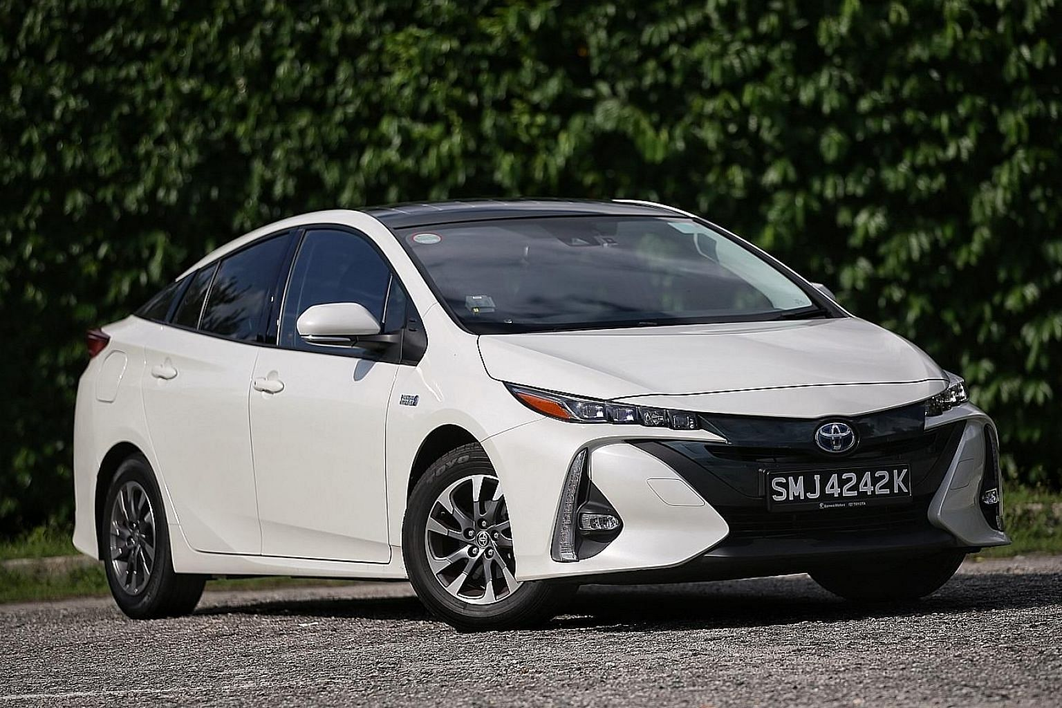 The Toyota Prius PHV has an electric range of about 50km and its lithium battery can be fully recharged in about three hours.