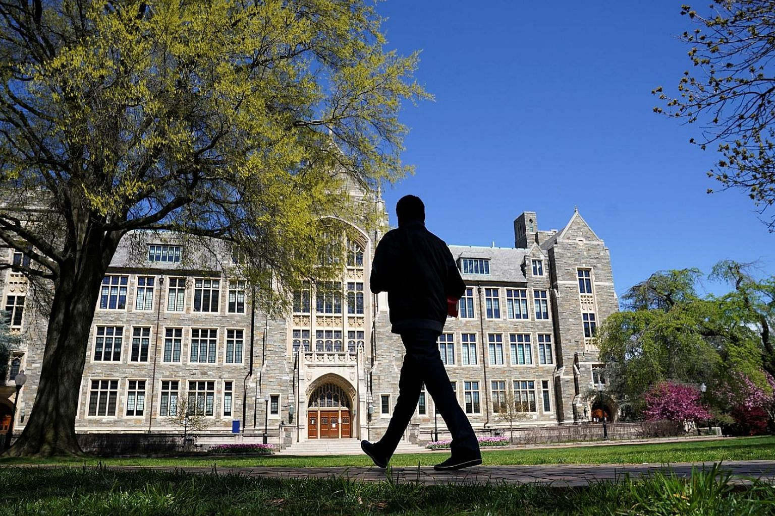 An empty campus at Georgetown University, closed weeks ago due to the coronavirus, on April 3. College administrators in the US are increasingly fearful that their schools may not reopen for the autumn semester.