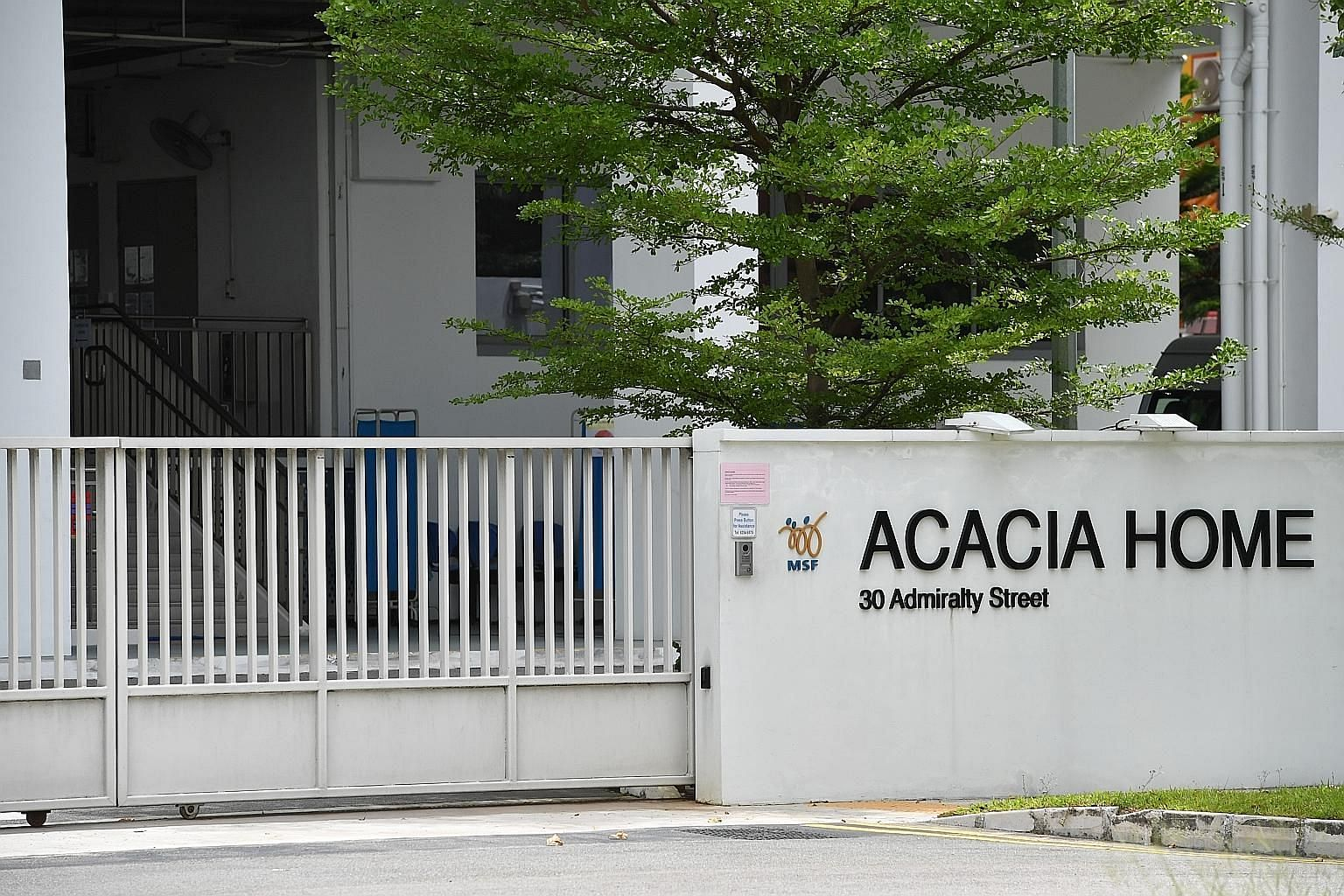 Twelve more residents and two employees at Acacia Home were found to have Covid-19, after a resident was diagnosed earlier. ST PHOTO: CHONG JUN LIANG