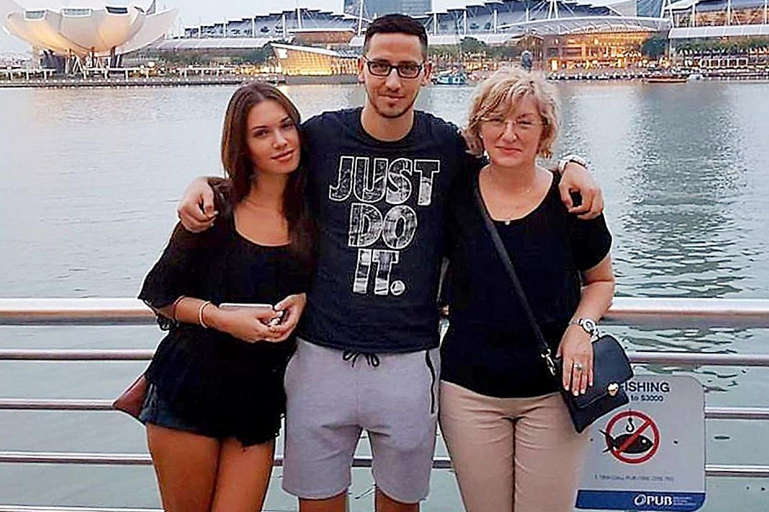 Left: Hougang striker Stipe Plazibat spending time with his fiancee Marija and mother Tanja when they visited him here in 2017. Above: Brunei DPMM coach Adrian Pennock.