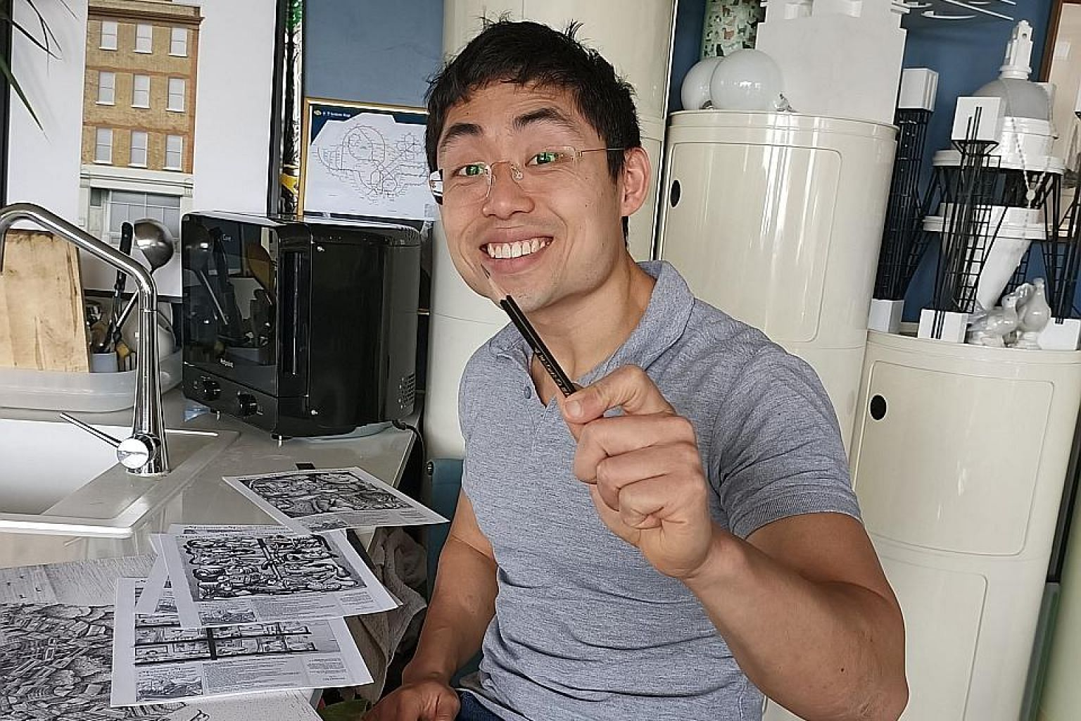 Mr Cliff Tan, who is based in London, shaded the colouring contest illustrations with only a black lead pencil.