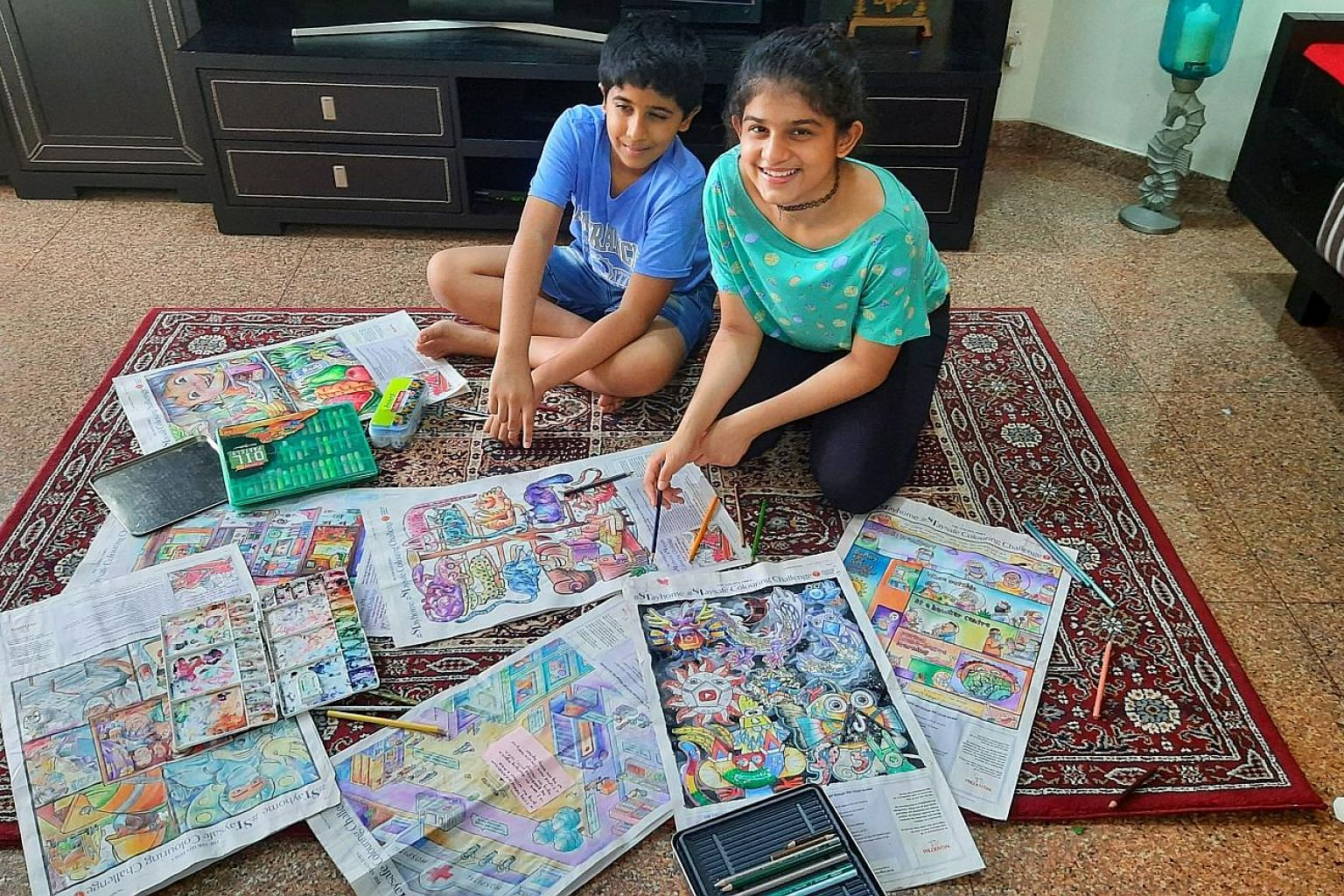 Sanchita Dhareshwar used a variety of mediums to colour the visuals, with her brother Shantanu putting the finishing touches on them.