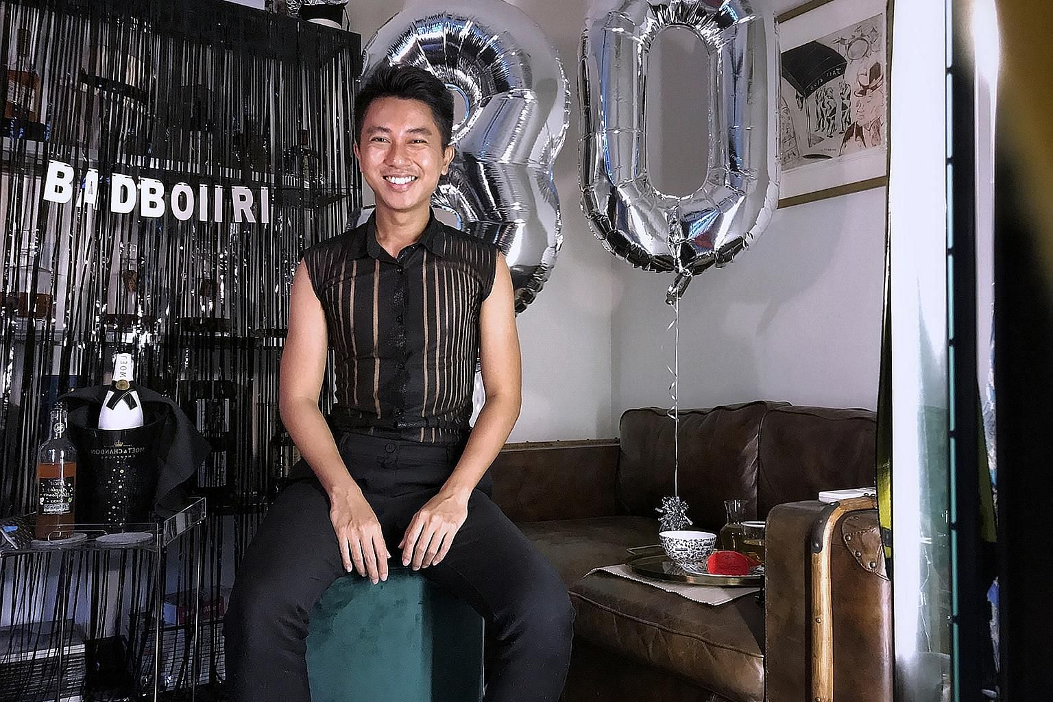 Graphic designer Ridaudin Abdul Rasid planned a virtual party with a few close friends, got decorations, baked his own cake and secretly ordered food to be delivered to them.