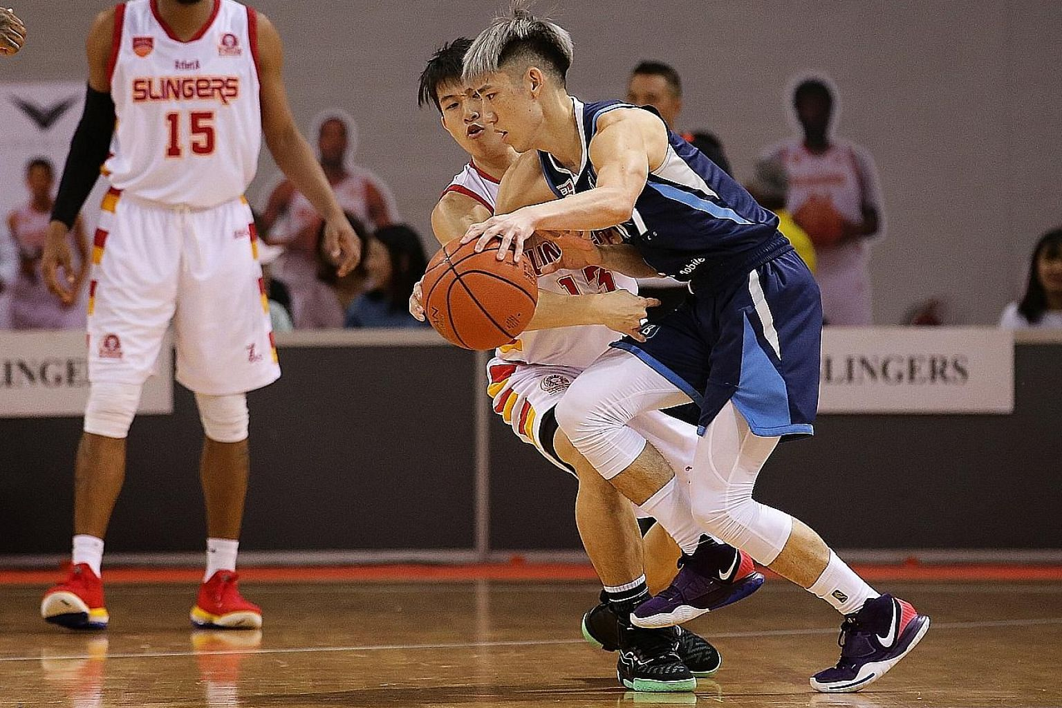 Taipei Fubon Braves guard Joseph Lin taking on the Singapore Slingers in an ABL match at the OCBC Arena in February. He scored 11 points and pulled down five rebounds in his team's 106-99 overtime loss.