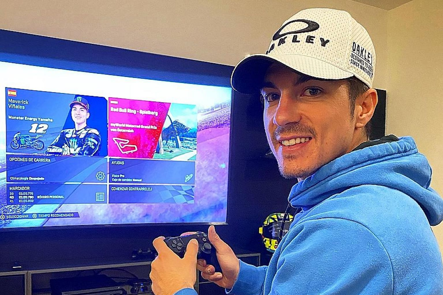 "Yamaha rider Maverick Vinales has been competing in MotoGP virtual races during the pandemic. The 25-year-old won yesterday's Spanish MotoGP Virtual Race - his ""home"" event."