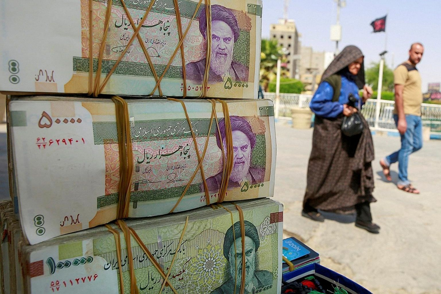 Since 2018, when the Trump administration repudiated the nuclear agreement and reimposed sanctions on Iran, the value of the Iranian currency, the rial (above), has fallen by roughly 60 per cent.
