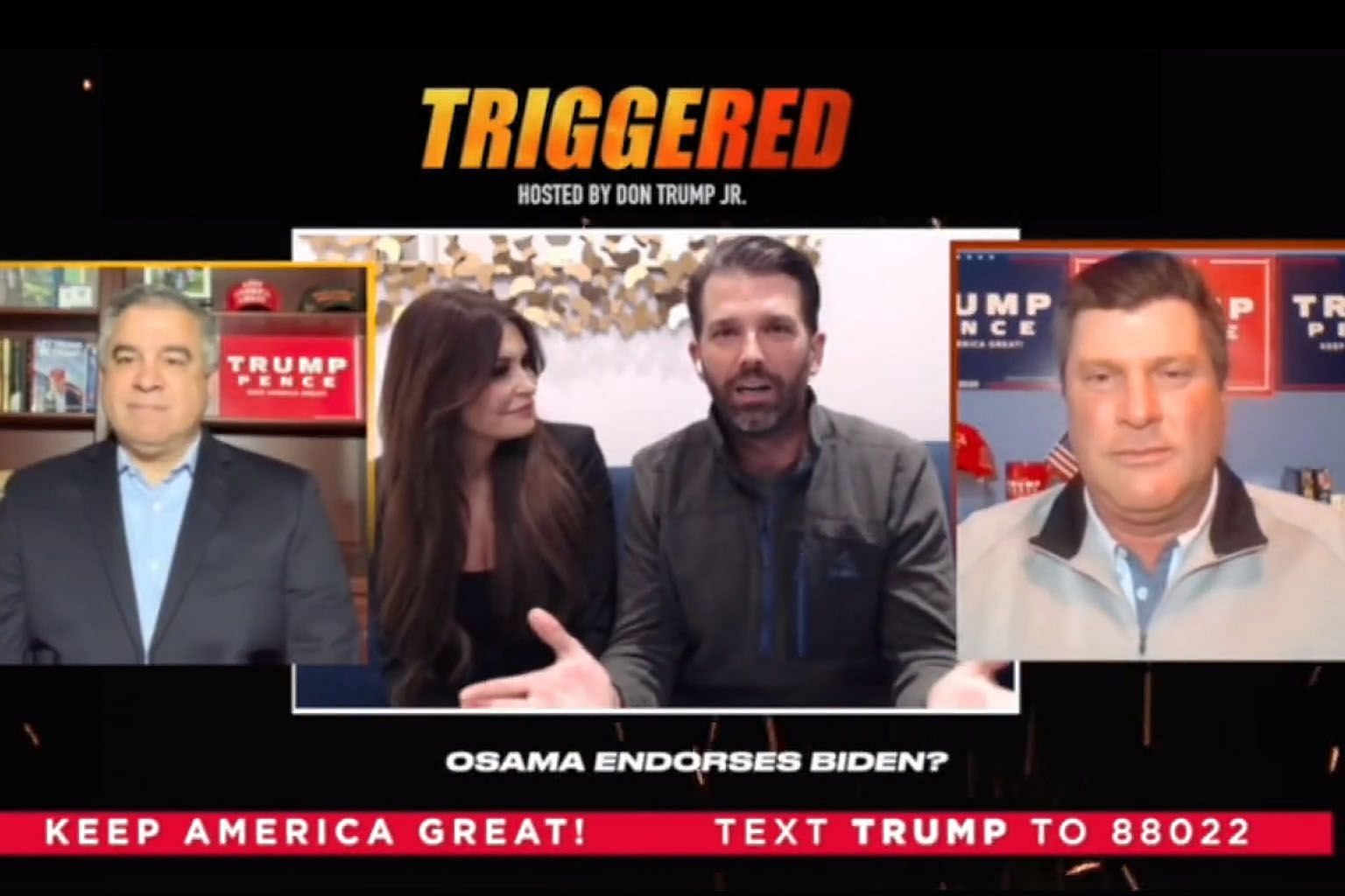 Mr Donald Trump Jr (with his girlfriend, former Fox News presenter Kimberly Guilfoyle) hosting the show Triggered on April 24. The couple, joined by Trump campaign political director Chris Carr (far right) and campaign manager David Bossie via video,