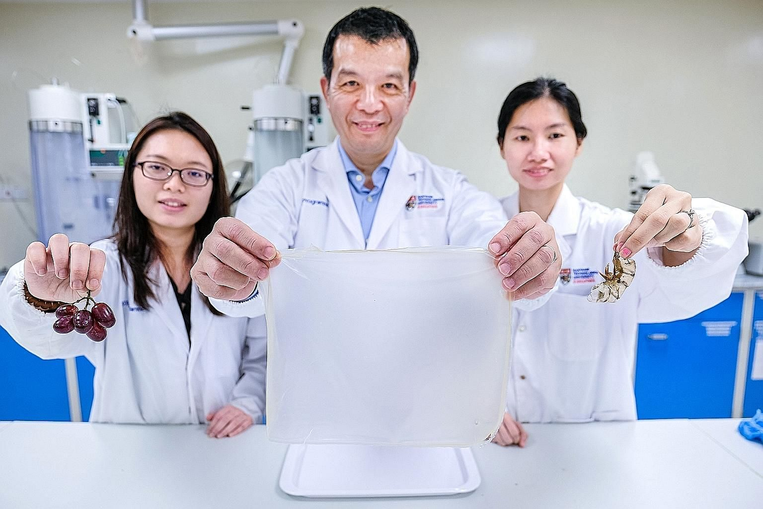 (From left) Nanyang Technological University research officer Lee Pei Pei, Professor William Chen, director of NTU's food science and technology programme, and PhD student Tan Yun Nian, with the food-grade film packaging created from prawn shells and
