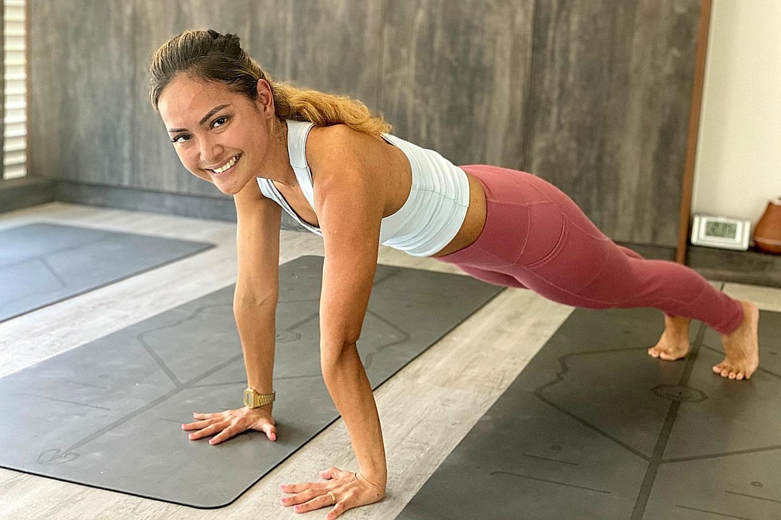 Ms Danielle Hajar, who is also a certified yoga instructor, plans her schedule a week ahead and sets aside time to exercise and relax.