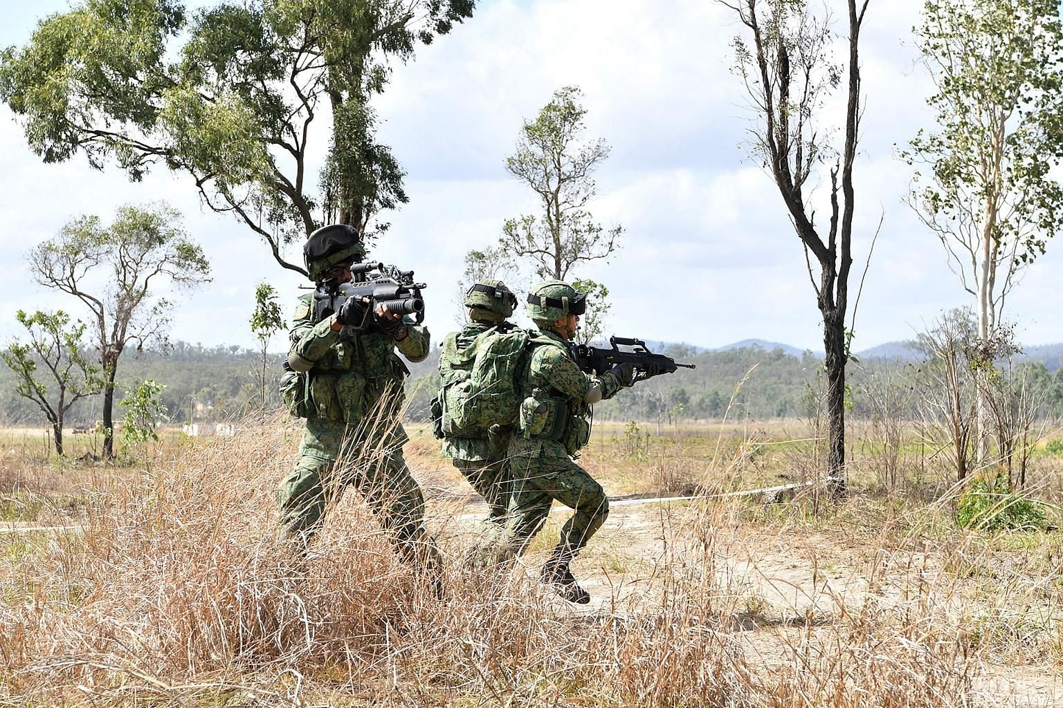 Singapore Armed Forces troops taking part in Exercise Wallaby in Australia last year. The exercise, Singapore's biggest overseas, is among those suspended because of Covid-19. Exercise Wallaby is usually held in the later part of the year at the Shoa