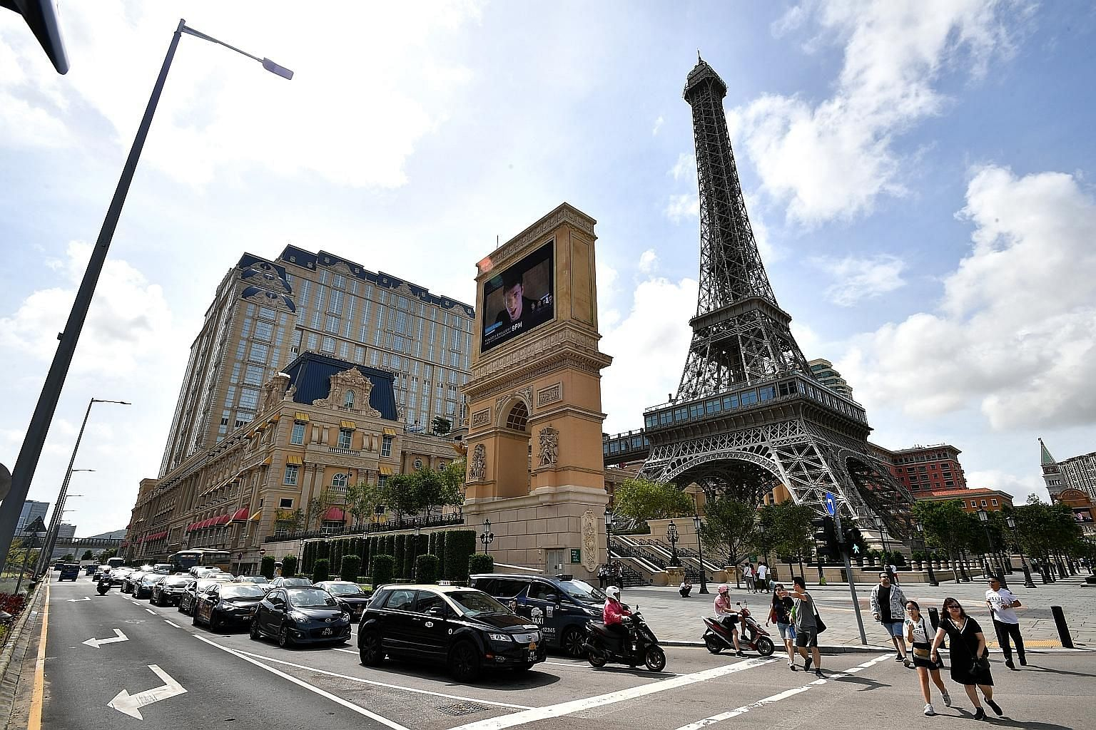 The Parisian Macao, a luxury hotel in the Cotai area of Macau which is owned by Las Vegas Sands. It has a half-scale Eiffel Tower as one of its landmarks.