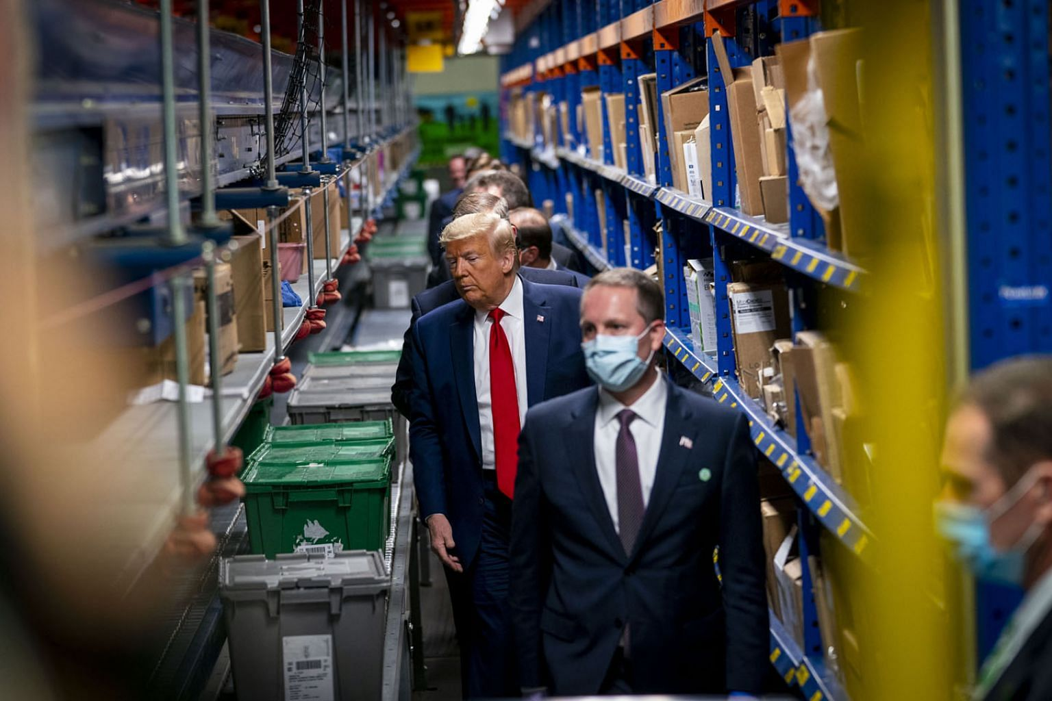 US President Donald Trump touring medical supply distribution company Owens & Minor in Pennsylvania, a battleground state, on Thursday. The US has been stung by exposure of its dependence on China for the medical equipment needed to fight the coronav