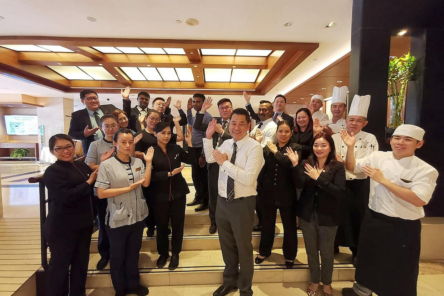 Eighteen organisations, including Copthorne King's Hotel (left) and cleaning company Chye Thiam Maintenance, have been awarded the Plaque of Commendation by the National Trades Union Congress at this year's May Day Awards.