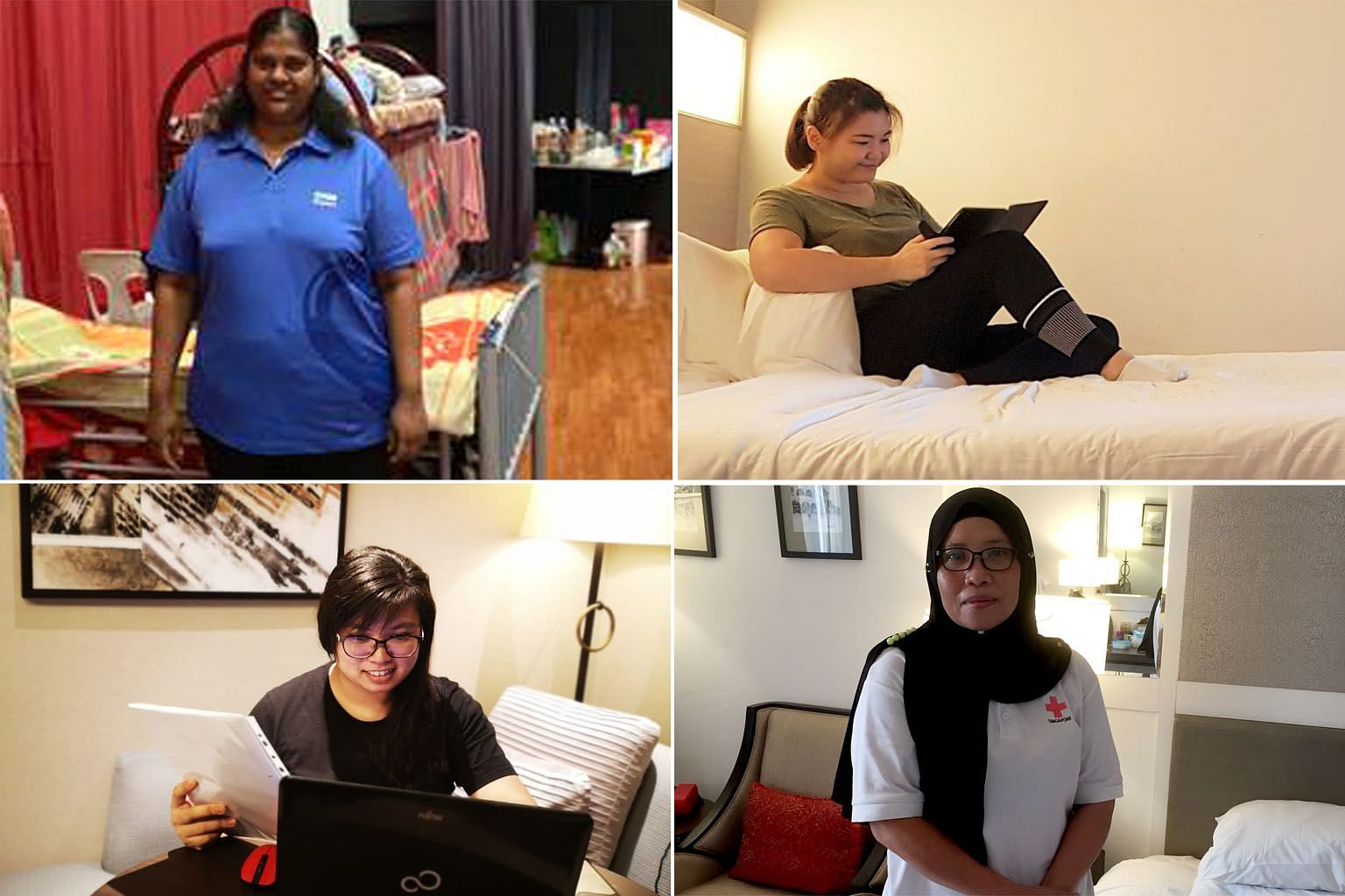The coronavirus situation has resulted in thousands of nursing home staff in Singapore staying in hotels, or on-site at their places of work, for the safety of their residents. Among them are (clockwise from top left) Madam Prema Manikandan, in the m