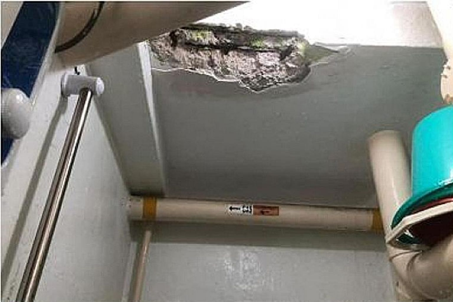 Ms Syasha DanialAlissa posted photos on Facebook showing her son's injured back and the affected toilet ceiling.