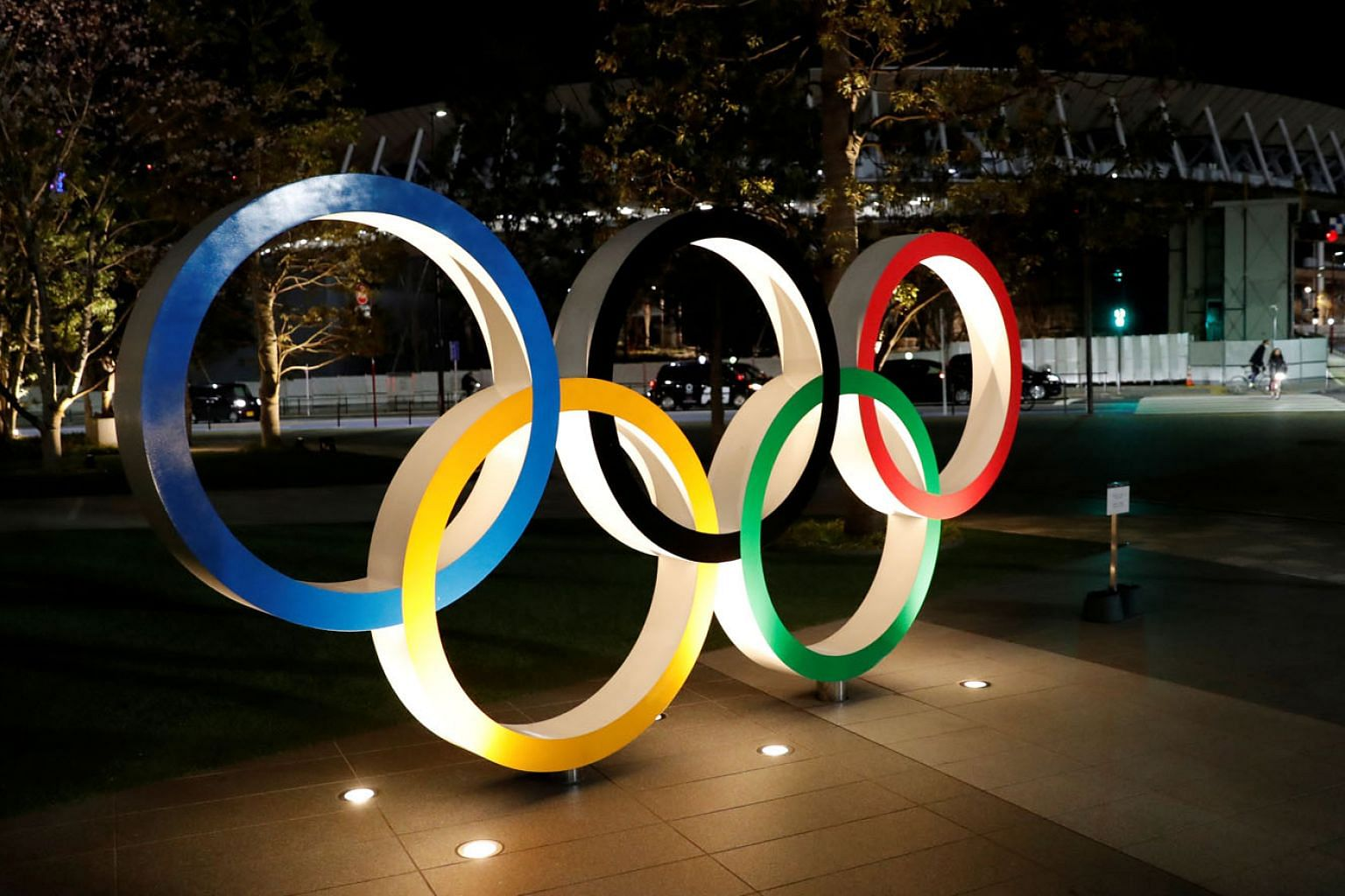 """The five rings in front of the Japan Olympics Museum in Tokyo. IOC chief Thomas Bach is not keen on the idea of holding the Games behind closed doors, as """"the Olympic spirit is about also uniting the fans and this is what makes the Games so unique""""."""