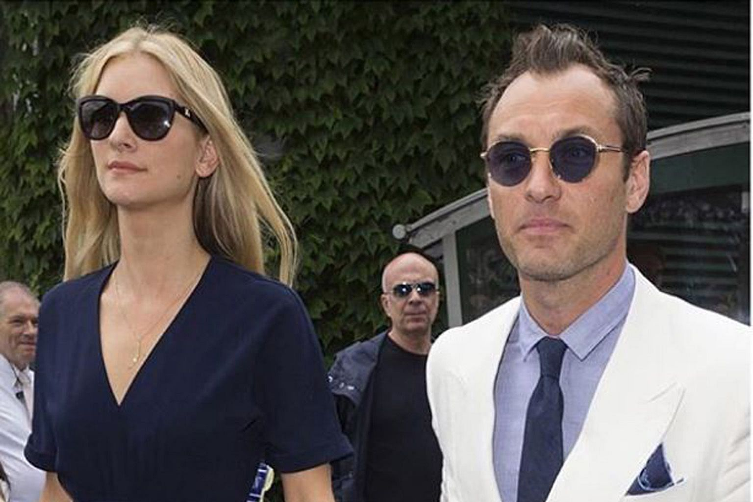 Actor Jude Law and his wife, psychologist Phillipa Coan (both left), whom he married last year, are looking forward to the arrival of their first child.