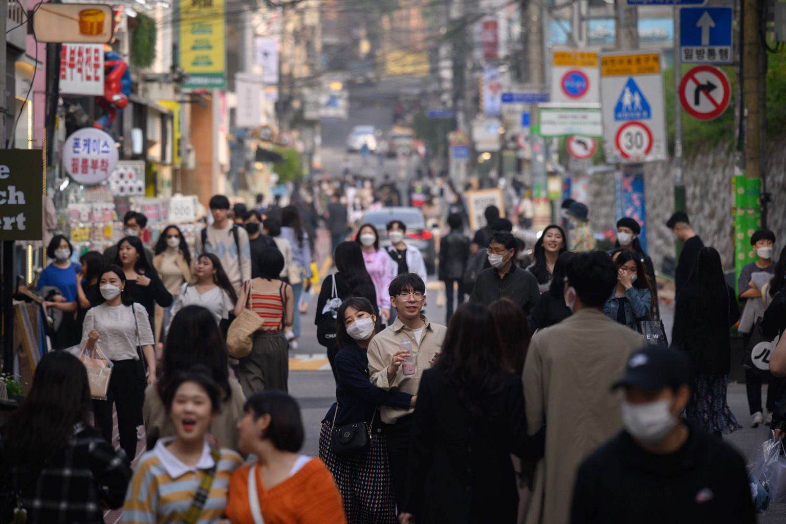 South Koreans out on the street in the Hongdae district of Seoul last week. So far, China and South Korea are the only large nations to have eased restrictions enough to move the dial on economic activity. In the United States, 29 of the 50 states ha