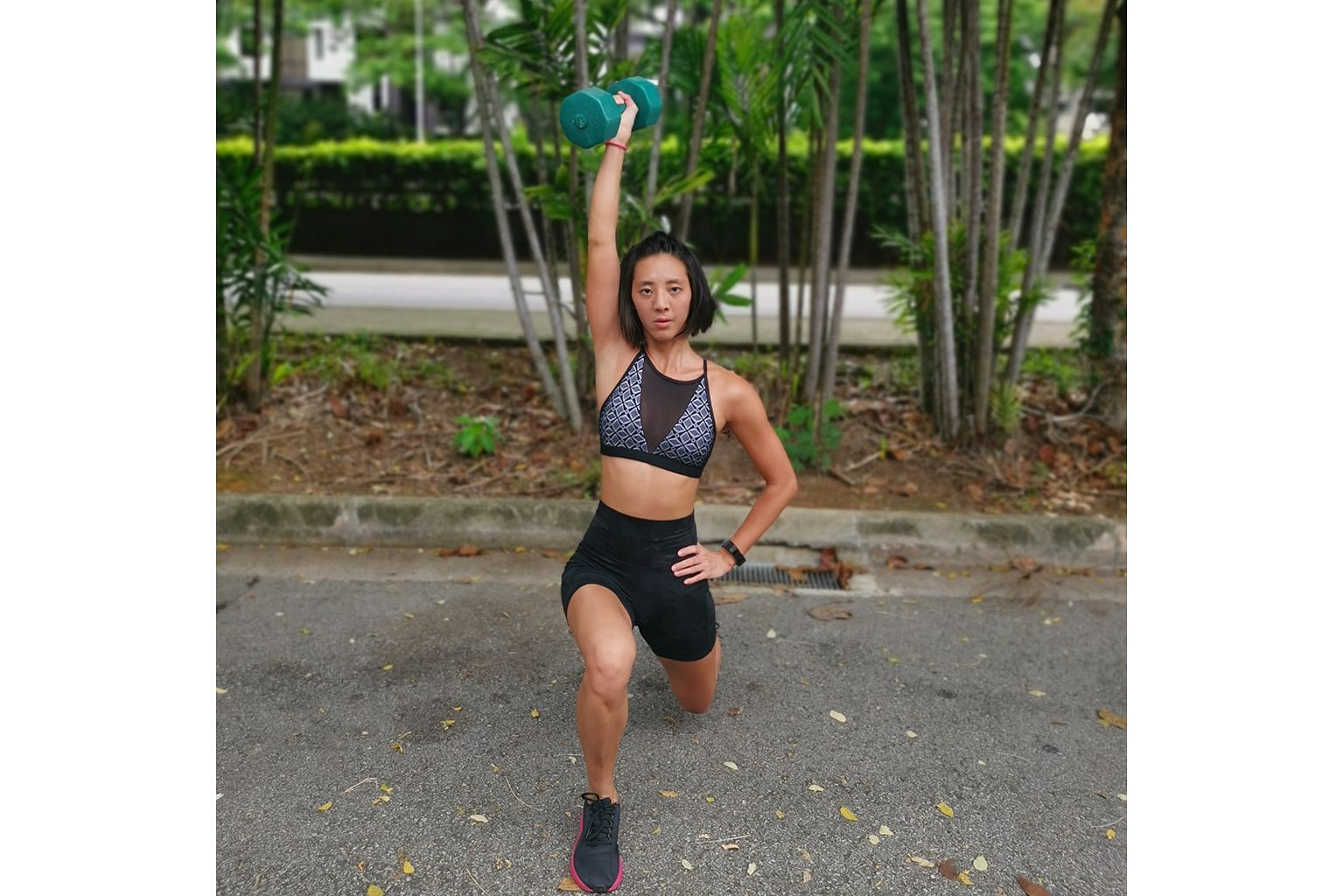 Ms Michelle Tan has been working out at home more during the circuit breaker period.