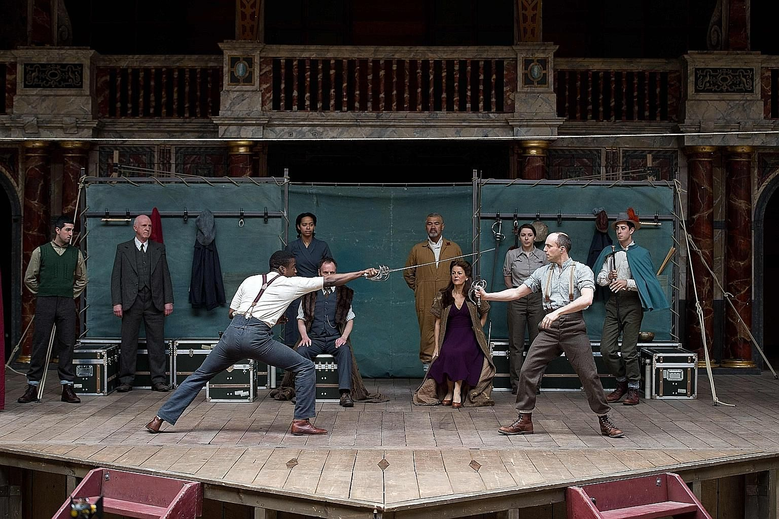 The cast of Hamlet performing at Shakespeare's Globe in London in this 2014 file photo. The theatre may close for good without emergency funding to get it through the coronavirus lockdown.