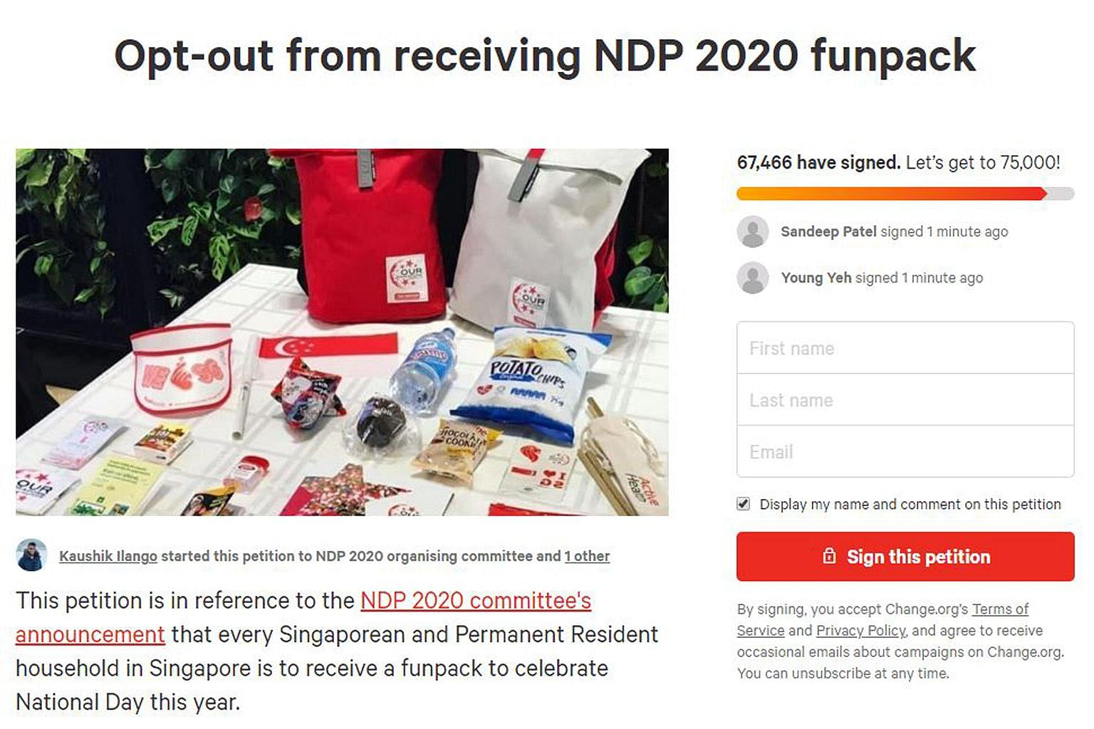 A petition was launched last Thursday to allow people to opt out of receiving the National Day Parade funpack, following the NDP committee's announcement that 1.2 million funpacks will be distributed to all Singaporean and permanent resident househol