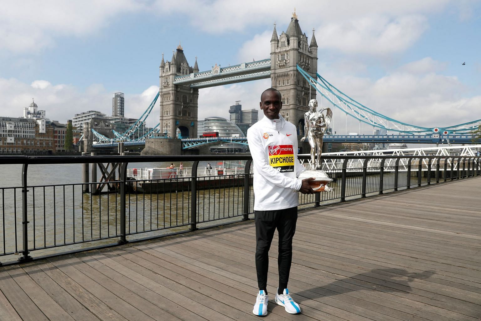 Kenya's Eliud Kipchoge after winning the London Marathon last year. The Olympic champion has partnered the Kenyan government and his personal sponsors to provide care packages for other Kenyan athletes. PHOTO: REUTERS