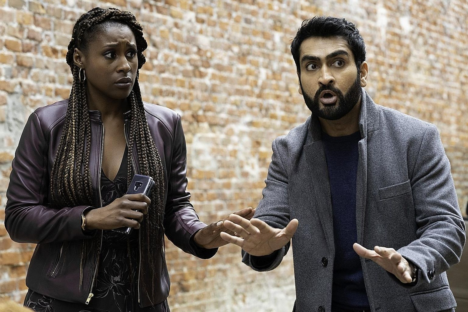 Kumail Nanjiani (right) shows off his comedic chops in Netflix romcom The Lovebirds, along with co-star Issa Rae (left).