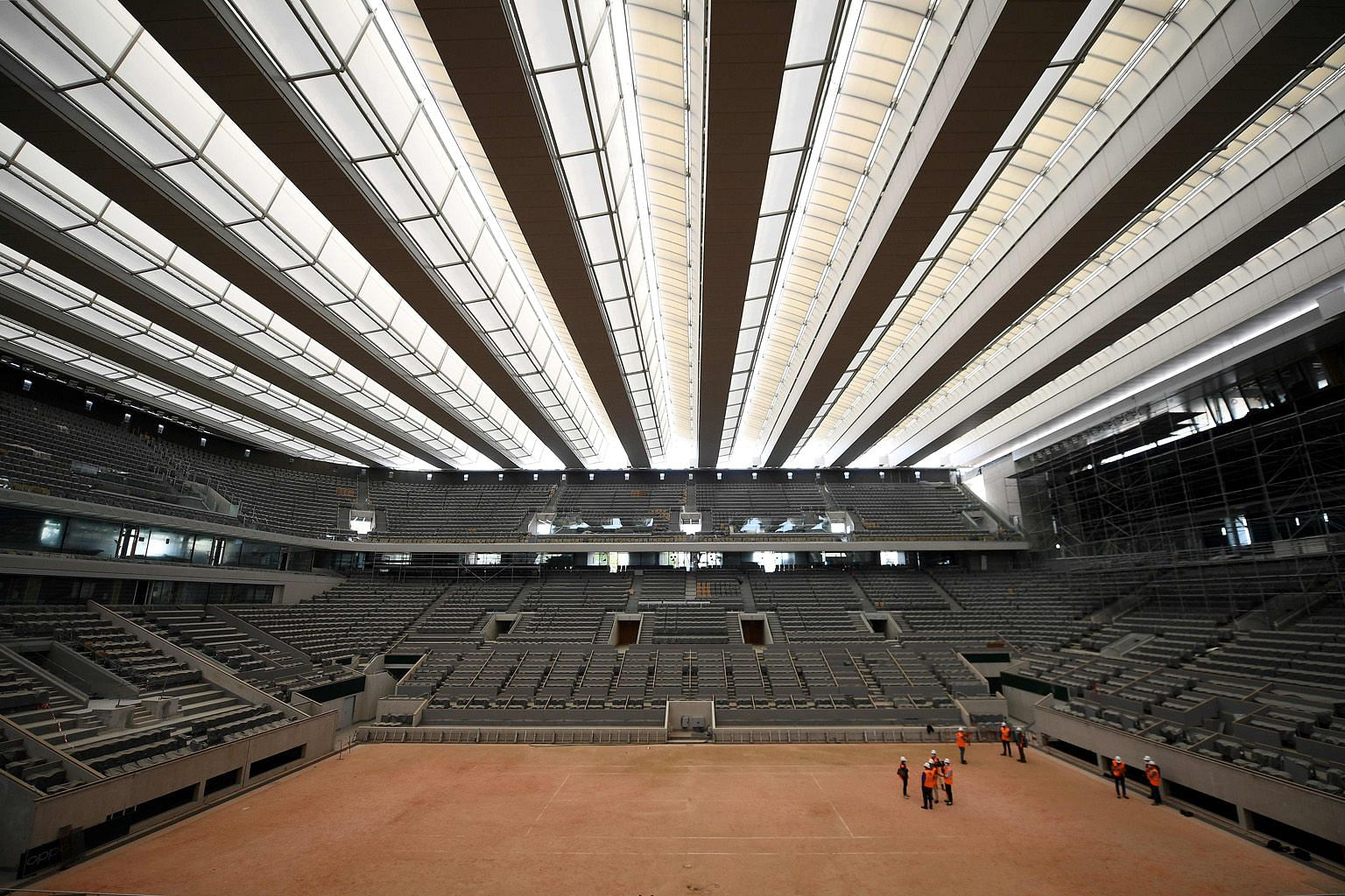 The newly-built roof at the Philippe Chatrier court offers the chance of continued play should it rain.