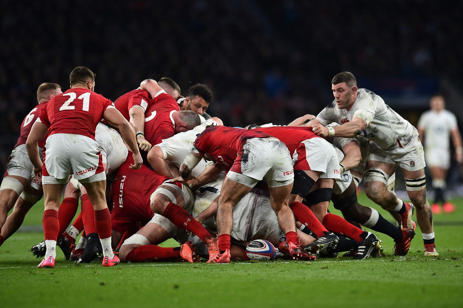 The English and Welsh teams leaving very little distance between them in a scrum during the Six Nations in March.